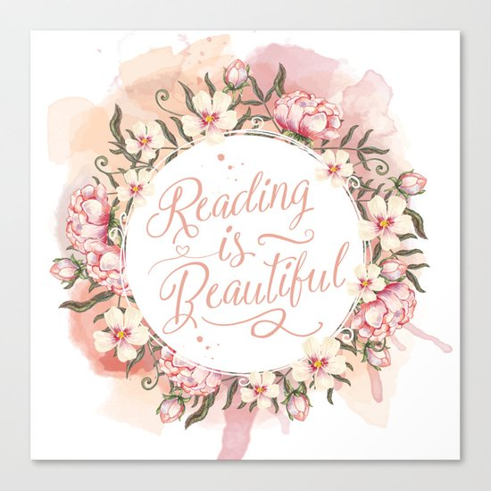 Reading is Beautiful floral wreath Canvas Print