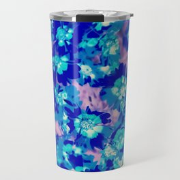 blooming blue flower abstract with pink background Travel Mug
