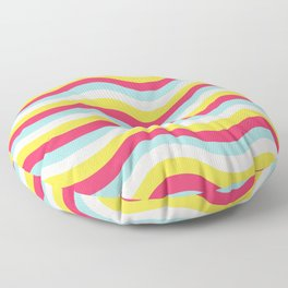 Cheerful Teal Yellow Pink White Waves of Color Floor Pillow
