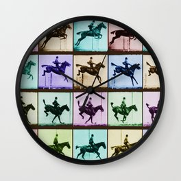 Time Lapse Motion Study Horse And Rider Color Wall Clock