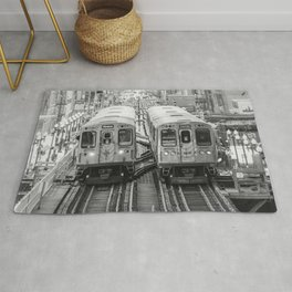 Black and White Chicago Train El Train above Wabash Ave the Loop Windy City Rug