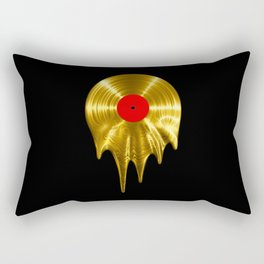 Melting vinyl GOLD / 3D render of gold vinyl record melting Rectangular Pillow