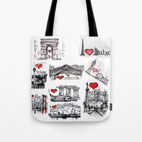cities Tote Bags featuring Cities 1  by sladja