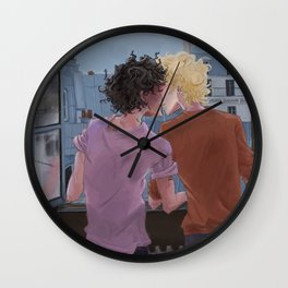Enjolras, Grantaire and twilight over Paris Wall Clock