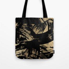 Elegant black faux gold modern brushstrokes pattern Tote Bag