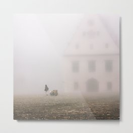 man pulling a cart on the square of Bardejov Metal Print