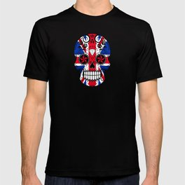 Sugar Skull with Roses and the Union Jack Flag T-shirt
