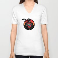 super hero V-neck T-shirts featuring Super Hero by Greene Graphics