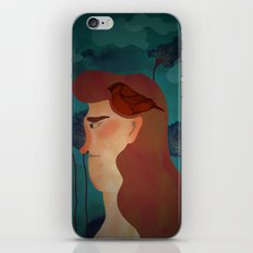 lady with bird iPhone & iPod Skin