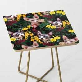 Floral and Sfenks Cat Pattern Side Table