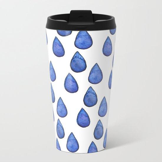 Watercolor raindrops Metal Travel Mug