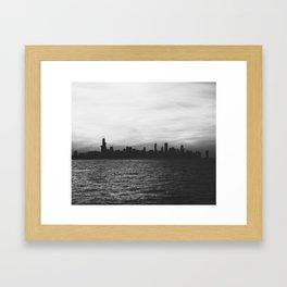 Black and White Chicago Seascape Framed Art Print