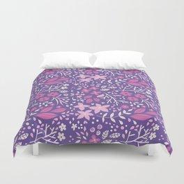 Floral doodles in pink and violet Duvet Cover