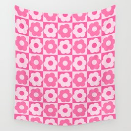 Floral Checker Pink Wall Tapestry