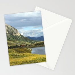 View of Meridian Lake and Mount Crested Butte above the Colorado city of Crested Butte on the high d Stationery Cards