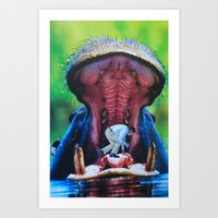 hippo Art Prints featuring Hippo by John Turck