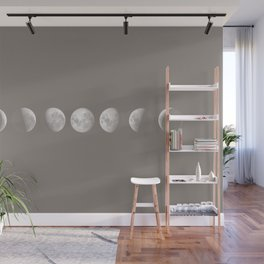 Moon Phases in Taupe Wall Mural
