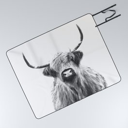 Black and White Highland Cow Portrait Picnic Blanket