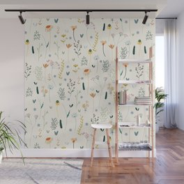 Vintage Inspired Wildflower Print Wall Mural