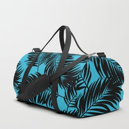 Palm Frond Tropical Décor Leaf Pattern Black on Cyan Vivid Arctic Blue Duffle Bag