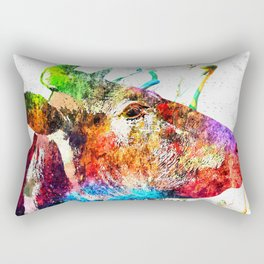 Cow Profile Watercolor Grunge Rectangular Pillow