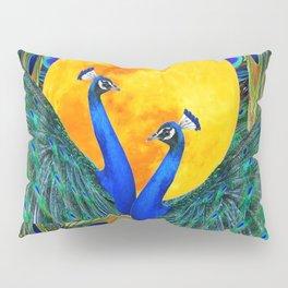 FULL GOLDEN MOON & 2  BLUE PEACOCKS PATTERN ART Pillow Sham