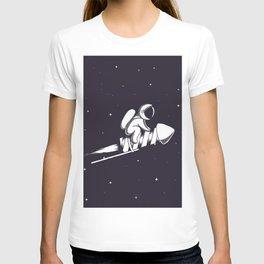 Astronaut Flying on Firework Rocket T-shirt