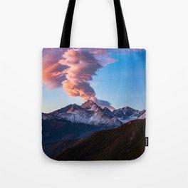 Fire on the Mountain - Sunrise Illuminates Cloud Over Longs Peak in Colorado Tote Bag