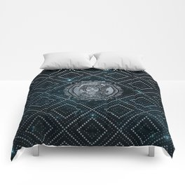 Virgo Zodiac Silver Embossed on the Star sky Comforters