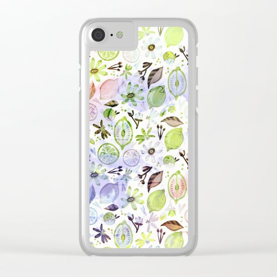 Lemons and flowers- floral pattern Clear iPhone Case