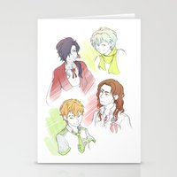 dramatical murder Stationery Cards featuring DRAMAtical Boyfrans by wattleseeds