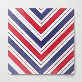 Patriotic Red White and Blue Chevron Stripes Metal Print