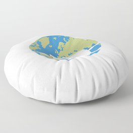 Planet Earth using a face mask Floor Pillow