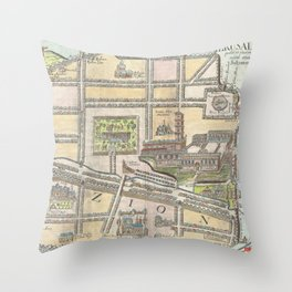 Old 1650 Historic State of Palestine Jerusalem Zion Map Throw Pillow