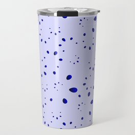 A lot of blue drops and petals on a cloudy background in nacre. Travel Mug