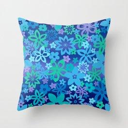 Blue Stencil Flowers Throw Pillow