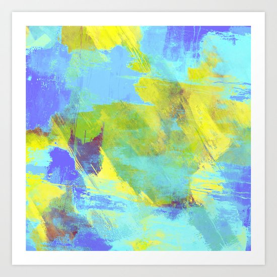 Hint Of Summer - Abstract, textured painting Art Print