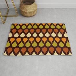 60s, 70s, Vintage geometric patterns, Brown drops, yellow drops Rug