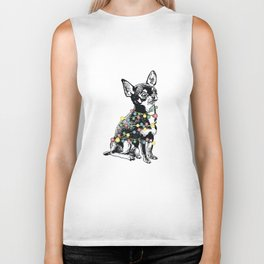 Chihuahua dog with colorful festoon Biker Tank