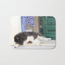 Wall art dog sleeping, street art, Portugal street, I'm lazy today......street dog and azulejos Bath Mat