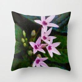 The Pink Star Flower Throw Pillow