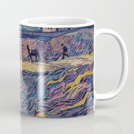 Enclosed Lavender Field with Ploughman by Vincent van Gogh Coffee Mug