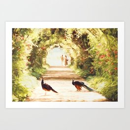 Lovers and Peacocks Art Print