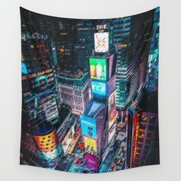 Times Square New York City Neon Lights Nighttime Landscape Painting by Jeanpaul Ferro Wall Tapestry