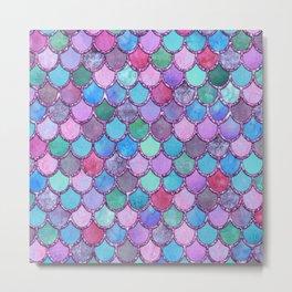 Colorful Pink Glitter Mermaid Scales Metal Print