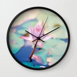 Cute Pink Blooming Lotus Wall Clock