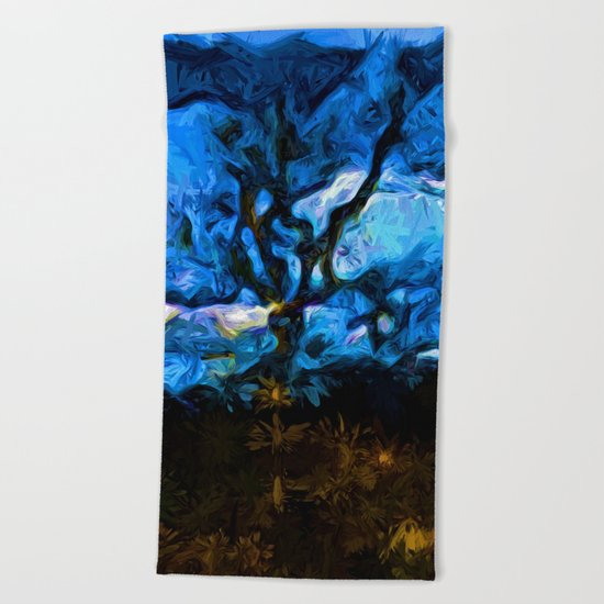 Tree Fights the Wind and Blue Sky Beach Towel