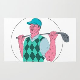 Golfer Golf Club Circle Grime Art Rug