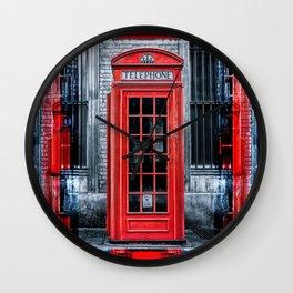 London - Telephone booth alone Wall Clock