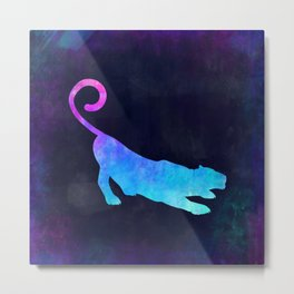PANTHER IN SPACE // Animal Graphic Art // Watercolor Canvas Painting // Modern Minimal Cute Metal Print
